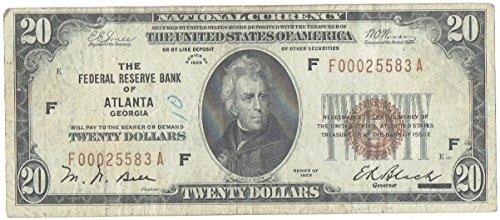 Banknote Federal Reserve (1929 $20 United States Federal Reserve Bank Note Atlanta)