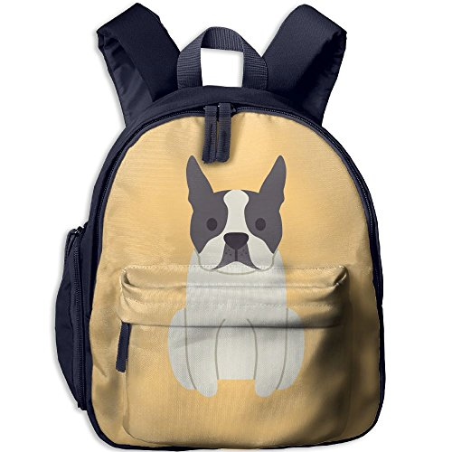 Boston-Terrier-dog Functional Design For Students School Backpack Children Bookbag Perfect For Transporting For Casual In 4 Season Navy