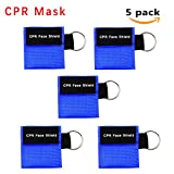 CPR Mask, One-way Valve Emergency Face Shields Rescue Baby and Adult Cpr Pocket Mask for First Aid, Lanting (Blue 5 pack)