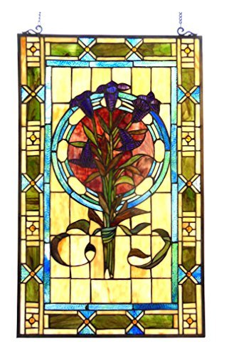 Chloe Lighting 20x32 Tiffany-Glass Tulips Design Window Panel ()