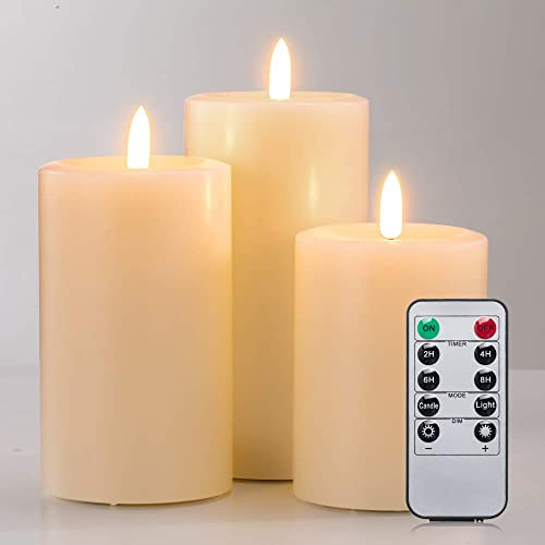 Realistic Candles Set of 3, Flameless Real Wax Top Flat 3D Wick Ivory Pillar Candles with Remote, Size D 3 x H 4 5 6 , 2H 4H 6H 8H Timer, Flicker, Dimmer, Run by 2 AA Battery Not Included