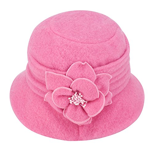 Womens GATSBY 1920s Winter Wool Cap Beret Beanie Cloche Bucket Hat A299 (Pink)