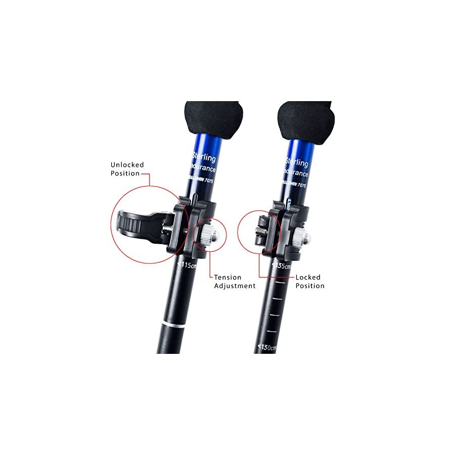 """Trekking Poles / Collapsible to 13 1/2"""" / Hiking Poles Walking Sticks by Sterling Endurance (buy 1 Pole or 2 Poles)"""