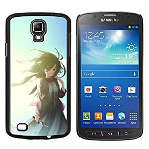 KLONGSHOP // Cubierta de piel con cierre a presión Shell trasero duro de goma Protección Caso - Muchacha de la historieta japonesa linda - Samsung Galaxy S4 Active i9295 //