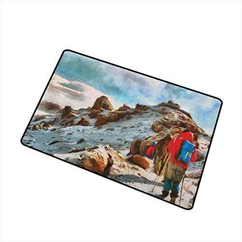 - Mountain Welcome Door mat Group of Trekkers Hiking Among Snows of Kilimanjaro in Winter in Painting Style Door mat is odorless and Durable W31.5 x L47.2 Inch Multicolor