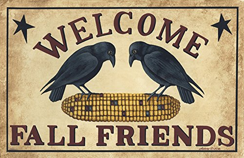 Crossroads Fall Friends Crow and Corn Fall Friends Doormat or Area Rug ()