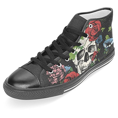 Interestprint Mujeres High Top Classic Casual Canvas Zapatos De Moda Entrenadores Lace Up Sneakers Skull