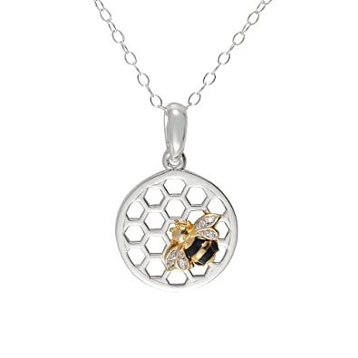Ivy Gems Sterling Silver Honeycomb and Honey Bee Pendant on 46cm Trace Chain ed8Nyiv