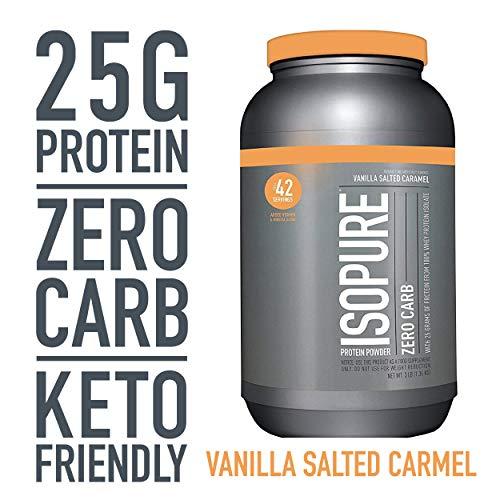 Isopure Zero Carb, Keto Friendly Protein Powder, 100% Whey Protein Isolate, Flavor: Vanilla Salted Caramel, 3 Pound (Zero Belly Protein Powder)