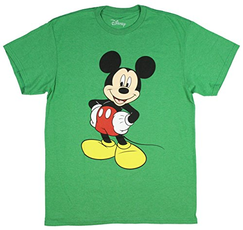 Mickey T-shirt Mouse World - Mickey Mouse Disney Funny Graphic Tee Classic Vintage Disneyland World Mens Adult T-Shirt Apparel (Medium, Heather Green)