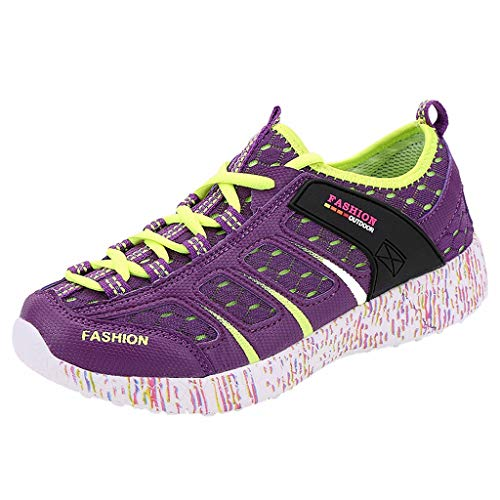 (CCFAMILY Women's Outdoor Hiking Mesh Shoes Sports Shoes Breathable Casual Running Shoes Purple)