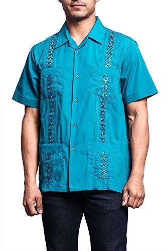 G-Style USA Men's Short Sleeve Cuban Guayabera Shirt 2000-1 - Teal - 4X-Large