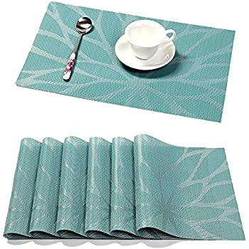 HEBE Placemats Set of 6 Washable Woven Vinyl Placemat for Dining Table Heat Resistant Stain Resistant Kitchen Table Mats(6, Blue)