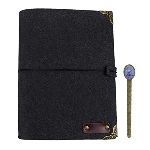 B5 Soft Felt Cover Journal 3 Ring Binder Sketch Notebook w/Lined Refillable Kraft Paper,String Band,100 Sheets 200 Pages -