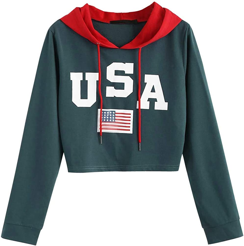 Casual Drop Shoulder American Flag Print Sweatshirt Women Hoodie Top Blouse
