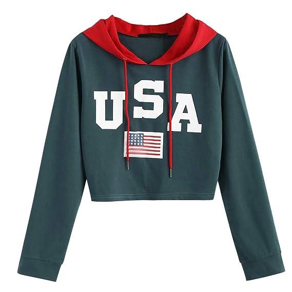Luckycat Mujeres Casual Drop Shoulder American Flag Imprimir Sudadera con Capucha Top Blusa: Amazon.es: Ropa y accesorios