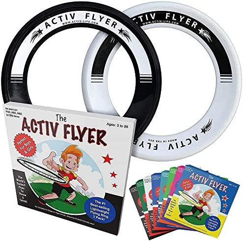 Activ Life Best Kids Flying Rings Get Outside /& Play! Fly Straight /& Don/'t Hurt Made in USA Replace Screen Time with Healthy Family Fun 2 Pack 80/% Lighter Than Standard Flying Discs