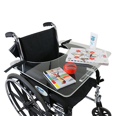 Wheelchair Tray Clear Acrylic With Rim And Straps - 1 Each / Each - 50-1302