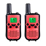 DuaFire Durable Kids Walkie Talkies, 2 Way Radio for Kids Playing Games, Back-lit LCD Screen and Strengthen VOX Free Your Hands (Red)