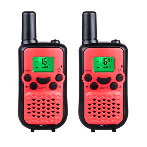 DuaFire Durable Kids Walkie Talkies, 2 Way Radio for Kids Playing Games, Back-lit LCD Screen and Strengthen VOX Free Your Hands (Pair Red)