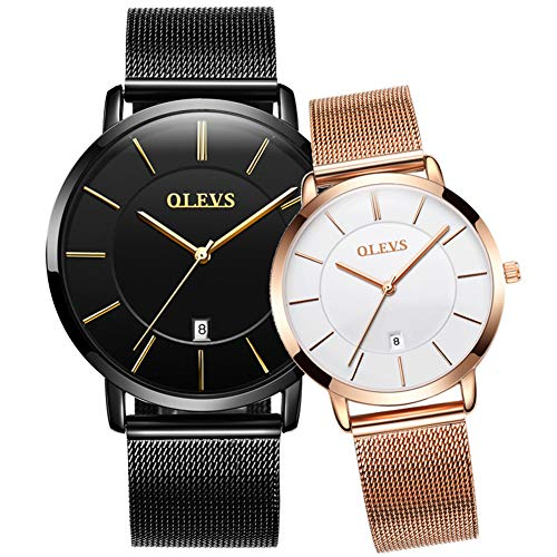 His and Hers Couples Quartz Watch, Black/White Dial Rose Gold Mesh Watch Band Strap Ultra Thin Wrist Watches for Men Women Analog Quartz Business Waterproof Dress Watch Womens Mens Slim ()