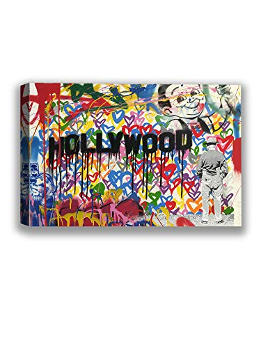 Funny Ugly Christmas Sweater Hollywood Painting Thierry Guetta Fans Gifts Mr Brainwash Hollywood Framed Canvas Art MBW Canvas Art French Street Art Ready to Hang Picture 8