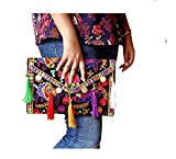 Lonika Collections Hippie Handmade Elephant Sling Bag Foldover Clutch Purse For Women Black