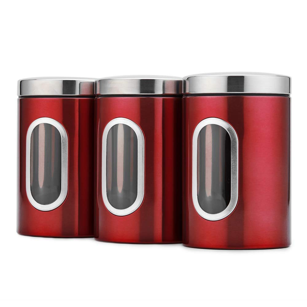 JENNIMER 3PC Kitchen Canister Sugar Food Tea Coffee Candy Storage Jars Stainless Steel with Transparent Windows (Red)