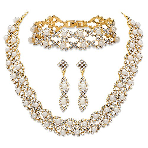 Palm Beach Jewelry Simulated Pearl and Crystal 3-Piece Drop Earrings, Cluster Necklace and Twisted Strand Bracelet Set ()