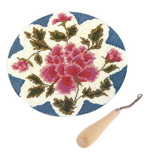 (Prettyia DIY Rose Flower Latch Hook Rug Completed Kit for Adults + Wood Crochet Hook)