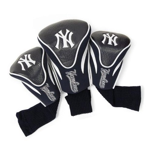 Team Golf MLB New York Yankees Contour Golf Club Headcovers (3 Count), Numbered 1, 3, & X, Fits Oversized Drivers, Utility, Rescue & Fairway Clubs, Velour lined for Extra Club - Pack Sock Headcovers 3