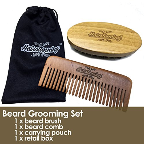hairstunning boar bristles beard brush and comb kit perfect mustache grooming set for men with. Black Bedroom Furniture Sets. Home Design Ideas