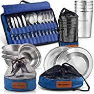 Unique Complete Messware Kit Polished Stainless Steel Dishes Set  Tableware  Dinnerware  Camping  Includes - C