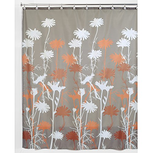 InterDesign Daizy Shower Curtain, Mushroom and Spice, 72 x 72-Inch Peach Apricot Essence