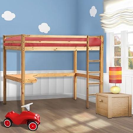 Miadomodo - HBT01 - Cama alta para niños - Con escritorio y escalera: Amazon.es: Bebé