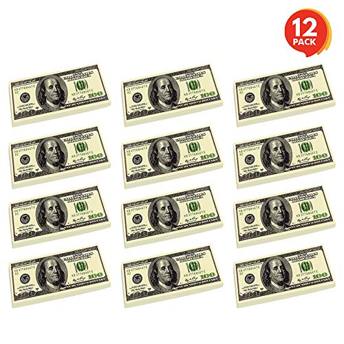 ArtCreativity 100 Dollar Bill Erasers - Set of 12 - 2.75 Inch Big Rubber Eraser with Money Replica Design - Fun Birthday Party Favors, Goodie Bag Fillers, Classroom, Student Gifts, School Supplies (Dollar Eraser)