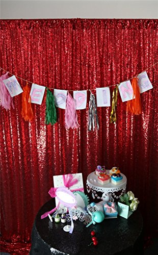 12'6' Runner (3FTX6FT-Red-Sequin Backdrop Photo Booth Curtain Blue Sequin Fabric Wedding/Birthday Christmas Decorations)