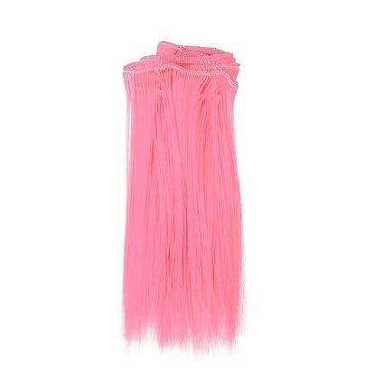 Peluca Gruesa de Pelo Liso Natural para Barbie Muñeca Juguete Accesorios niños Regalo 15 cm Gusspower