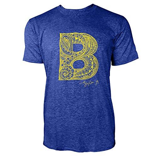 SINUS ART ® Dekorativer Buchstabe B Herren T-Shirts in Vintage Blau Cooles Fun Shirt mit tollen Aufdruck
