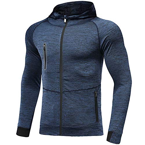 Mens Hoodies Zip Up Running Jacket Hooded Breathable Tracksuit Top Lightweight Sweatshirt Comfy Gym Clothes for Jogging…