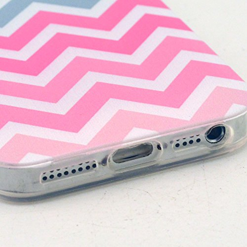 5 Case, iPhone 5s Case LUOLNH Pink Gray Wave Pattern Clear TPU Silicone Gel Back Cover Skin Soft Case for iPhone 5S 5