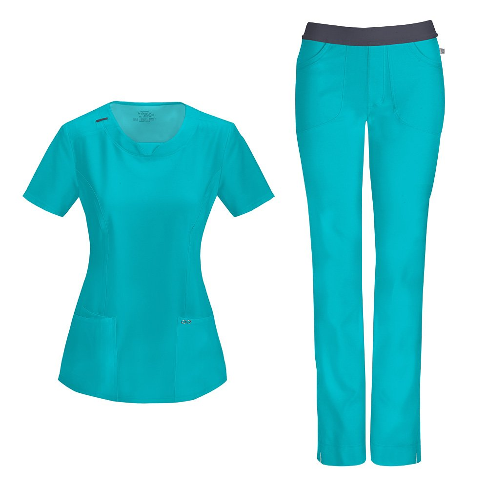 Cherokee Infinity Women's with Certainty Round Neck Top 2624A & Low Rise Pant 1124A Scrub Set (Antimicrobial) (Teal Blue - Medium)