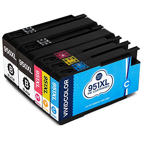 Vividcolor Compatible HP 950XL 951XL 950 951 Ink cartridges High Yield 2Black 1Cyan 1Magenta 1Yellow Work with HP Officejet 8610 8600 8620 8630 8100 Printer