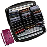 Buvelife RFID Wallets for Women,Credit Card wallet Leather Credit Card Holder with Zipper(Heart-shaped Rose Purple)