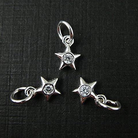 Sterling Silver Star Charm - Star Charm with CZ Stone -Cubic Zirconia -Tiny Charm - Jewelry Making Charm - Findings(5.5mm-3 (Sterling Silver Charns)