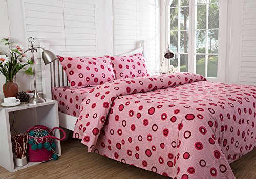 Inhouse by Maspar 52 Circle in Circle Printed Cotton Double Bedsheet with 2 Pillow Covers – Red