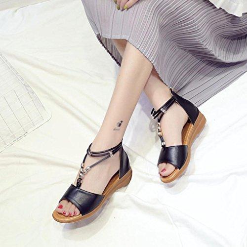 Plage Beautyjourney Sandales Ete Cuir Sandales Sandales Été Vacances Bouche Dames Sandales Chunky en Poisson Noir Chaussures Romaine Wedge wqrqF1I
