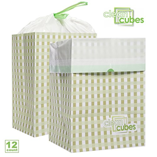 Clean Cubes (12 Count) Disposable Trash Cans And Recycling Bins For Home Office With Liner Bags Bulk