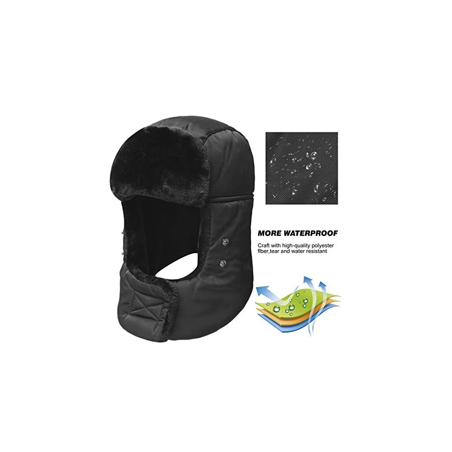 Trooper Trapper Hat,Winter Ski Hat with Winter Ear Flap and Ski Windproof Mask