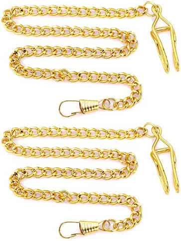 SwitchMe 14.7 inch (37.5 cm) Pocket Watch Chain Purse Chains (Gold 2-Pack)